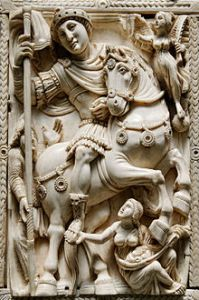 The Barberini Ivory (from the Louvre). It's unknown if this is meant to be Zeno, Anastasius or Justinian.