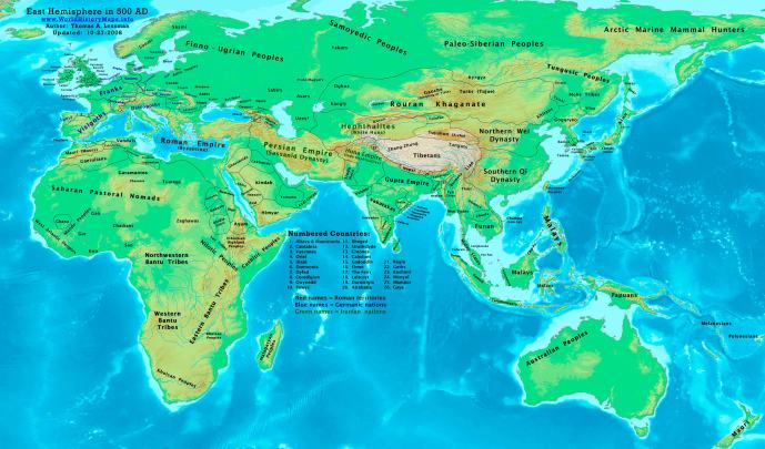 The Eastern Hemisphere in AD500