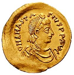 One of Anastasius' coins (a semissis)