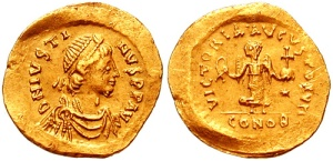A Tremissis (1\3 of a Solidus) with the likeness of the Emperor Justin (from Wikipedia)