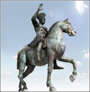 The Equestrian Statue of Justinian as recreated by Byzantium1200 (http://www.arkeo3d.com/byzantium1200/justinia.html)