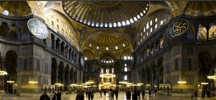 The interior of the Hagia Sophia