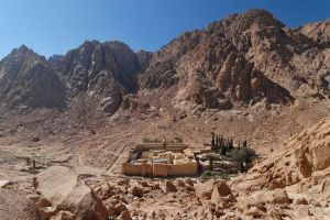 St. Catherine's Monastery at Mount Sinai in Egypt. The Monks complained to Justinian about raiders and so he built them these impressive walls which still stand today.