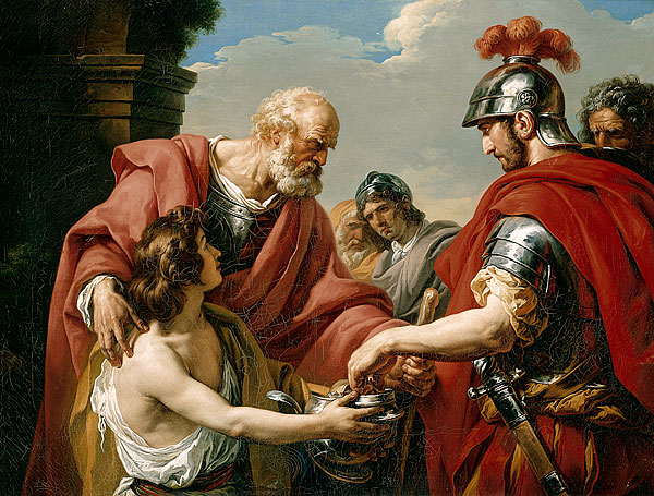 Bélisaire, by François-André Vincent (1776). Belisarius, blinded, a beggar, is recognised by one of his former soldiers. (Wikipedia).