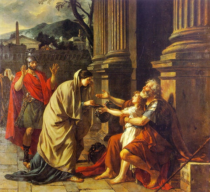 Belisarius Begging for Alms (1781) by Jacques-Louis David (Wikipedia).
