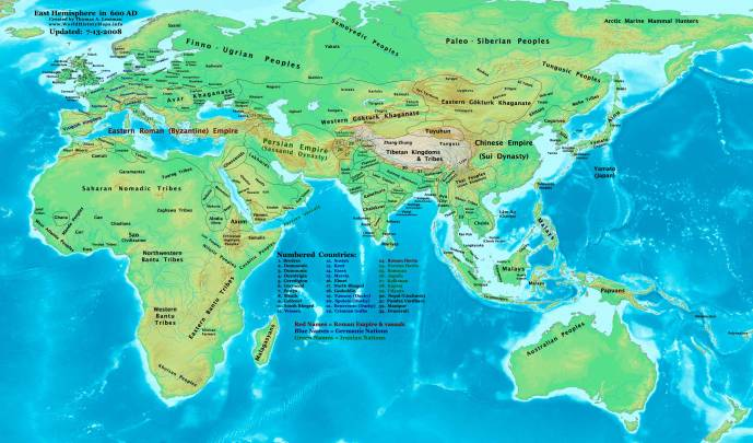 The Eastern Hemisphere in 600AD