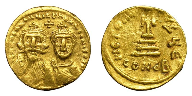 Byzantine (300-1400 Ad) Online Discount Smart Gold Byzantine Solidus Of Heraclius Showing Three Emperors