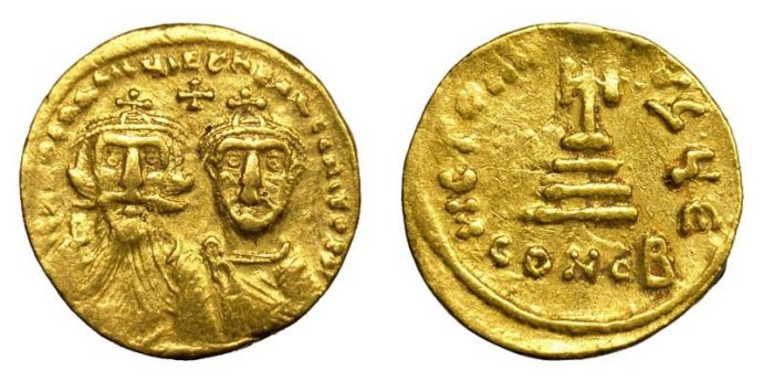 Heraclius coins from this period. The Emperor looking older, his son now a man (from ma-shops.com)
