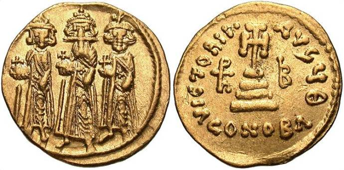 Heraclius, Constantine (r), Heraclonas (l) coin (from beastcoins.com)