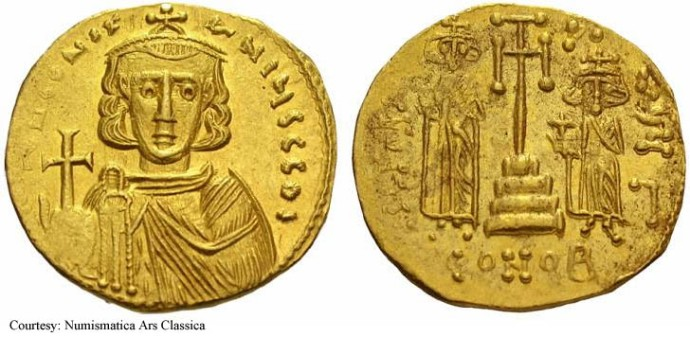A solidus of Constantine IV from dirtyoldcoins.com
