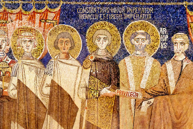 Close up from flickr.com. Constantine is the one handing the concessions. To his left are his brothers and Justinian II is on the far left