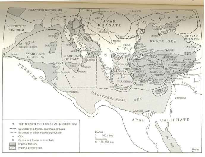 The Themes in 668 AD from A History of the Byzantine State and Society by Warren Treadgold