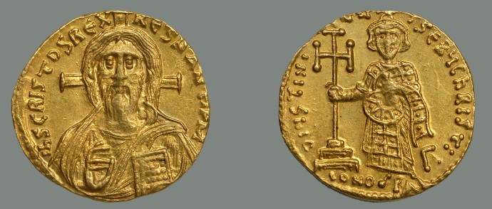 This is the controversial coin. Jesus on the left. A solidus of Justinian II from the Dumbarton Oaks collection.