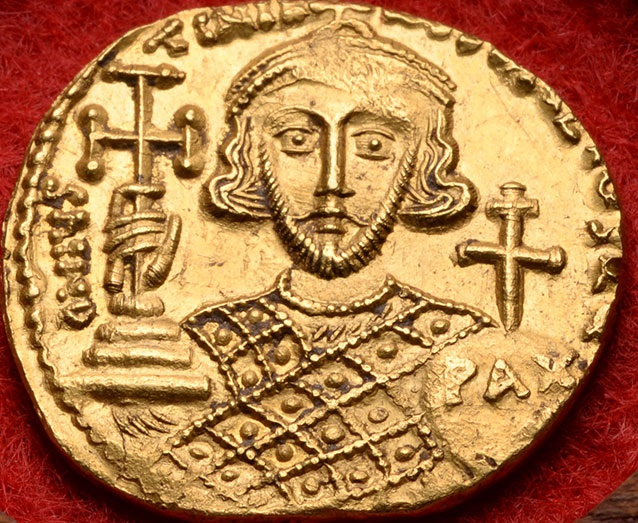 One of Justinian II's coins on which the Kibea Illustration is based (from an ebay sale).