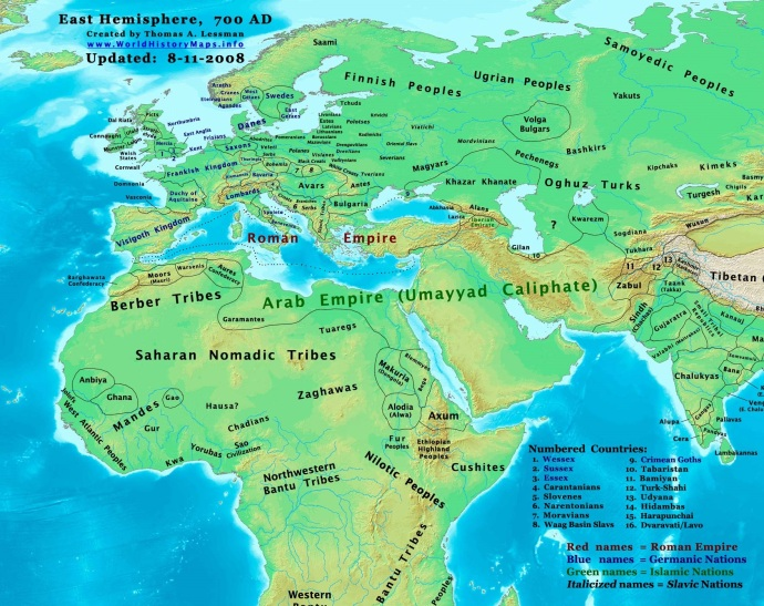 Europe and the Near East in 700 (from worldhistorymaps.info)