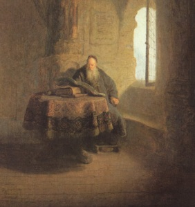 St. Anastasius in his Monastery. Rembrandt, 1631 (from Wikipedia)