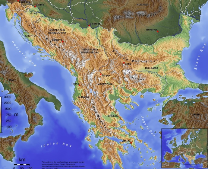 Topographical map of the Balkans (from wikipedia)