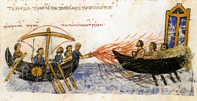 Greek Fire as depicted in the Madrid Skylitzes