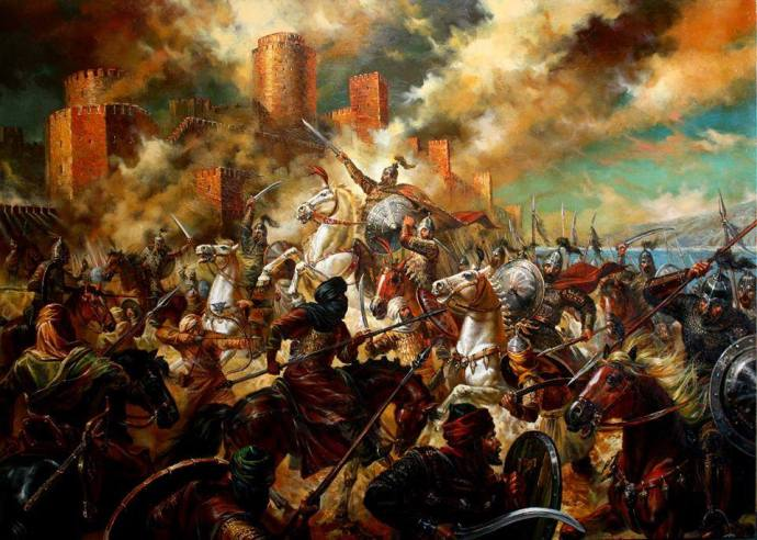 Tervel leads the Bulgars on an attack on the Arab forces besieging Constantinople by Vasil Goranov