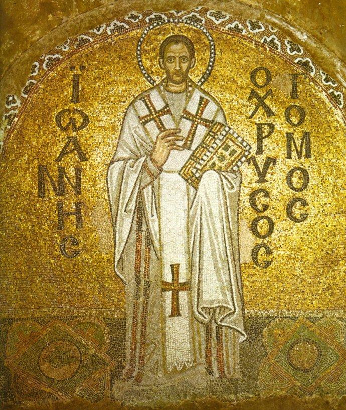 St John Chrysostom in a mosaic from the Hagia Sophia