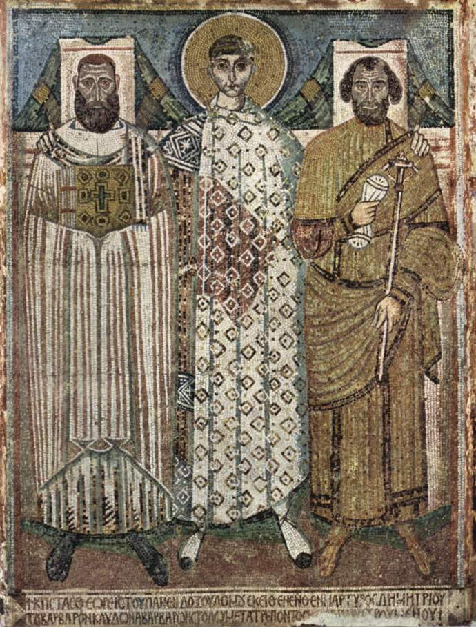 Mosaic of St Demetrios with donors from the church of Hagios Demetrios in Thessalonia (Wikipedia)