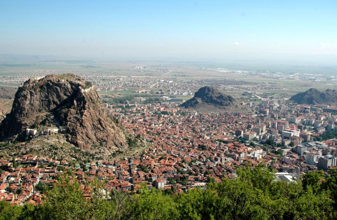 The city of Afyonkarahisar in Turkey. This is the site of Akroinon where Leo won his victory in 740.