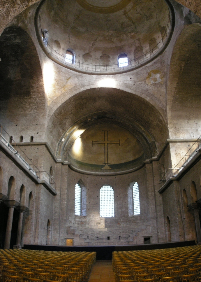 The interior of the Hagia Eirene restored by Constantine V (Wikipedia)