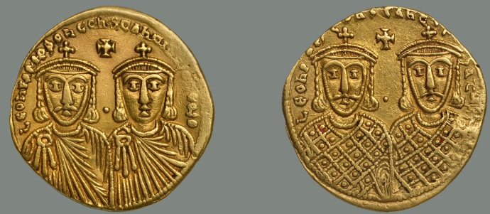 Solidus of Leo IV. That's Leo on the left with his son Constantine next to him (no beard). On the reverse are Leo III and Constantine V (from Dumbarton Oaks collection)