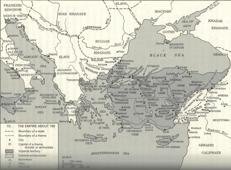 The Byzantine Empire in 780 from A History of the Byzantine State and Society by Warren Treadgold