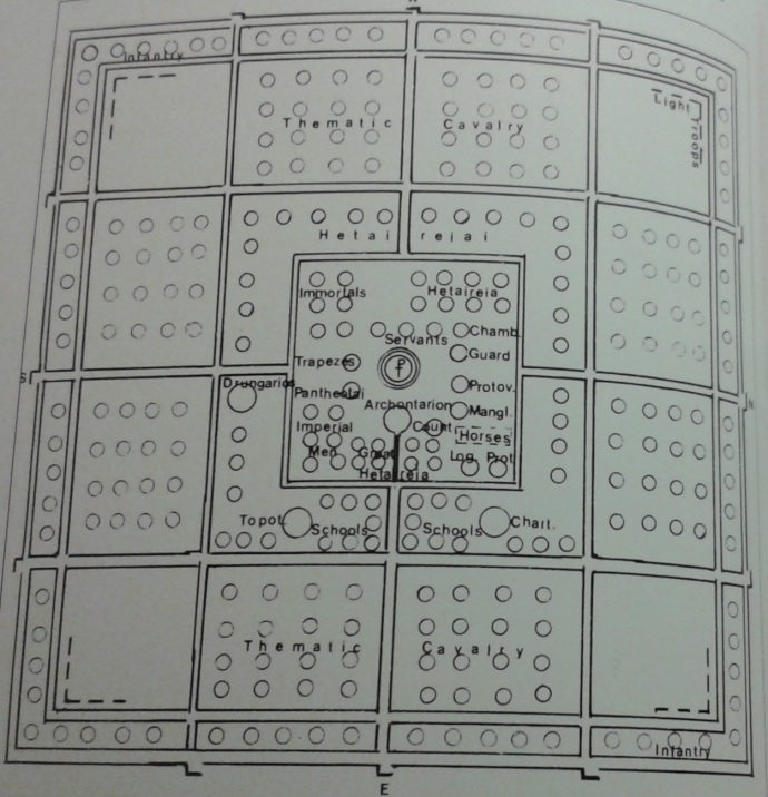 Plan of field army marching camp, 10th century from Byzantium at War by John Haldon