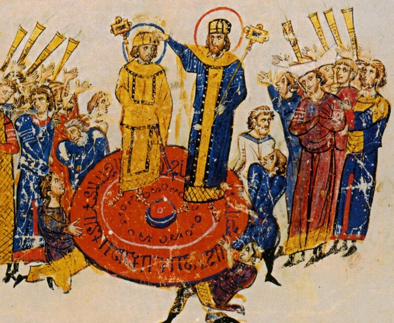 Michael and his son being proclaimed (as depicted in the Chronicle of John Skylitzes)