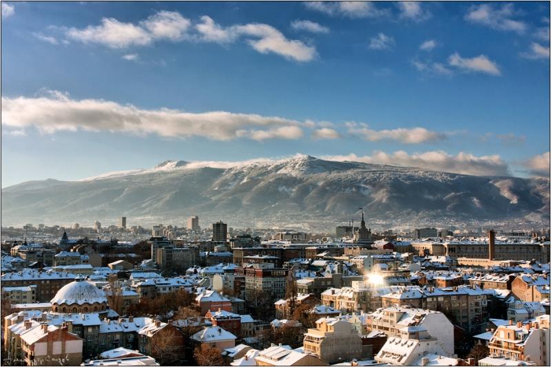 The skyline of modern Sofia (Roman Serdica) from senderismoeuropa.com