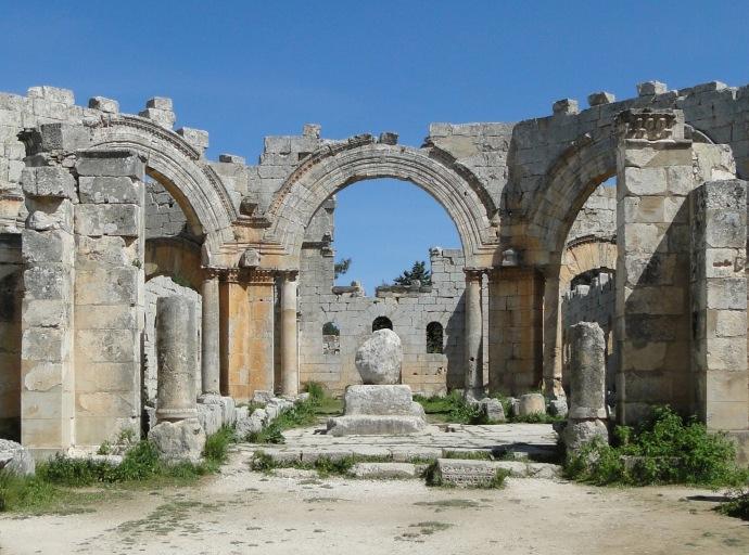 Pillar base at the church (wikipedia)