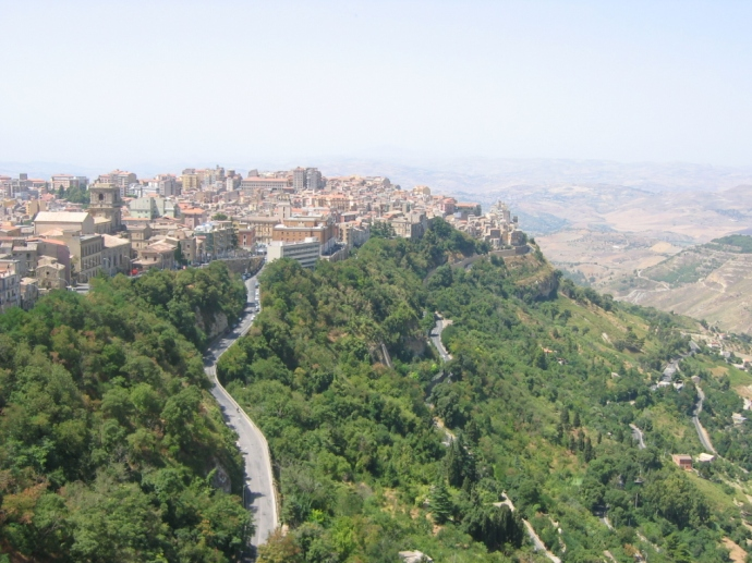 View of Enna (modern Castrogiovanni) in Sicily where Euphemius was stabbed to death