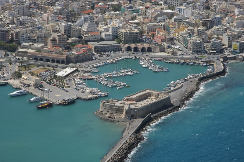 View of modern Heraklion founded by the Arab invaders in 828