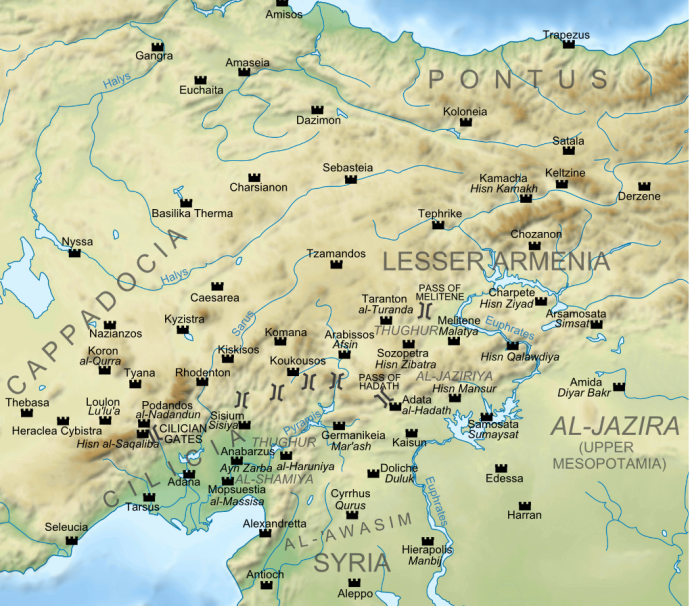 Arab-Byzantine border in Anatolia (author: CPlakidas at Wikipedia)