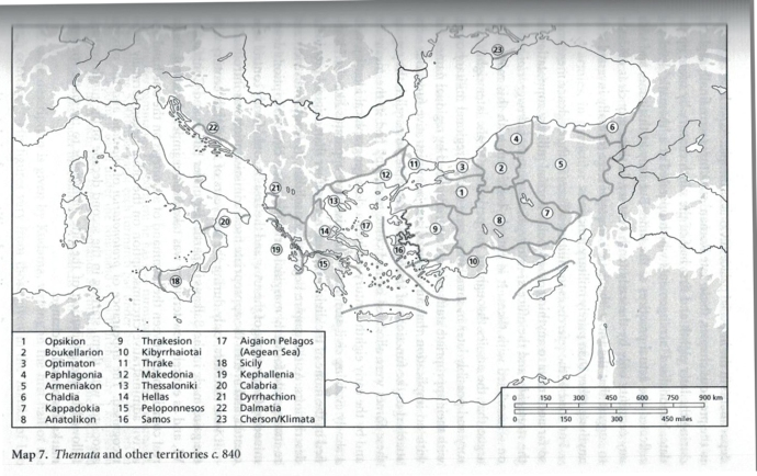 Military division of the Empire in 842 (from Byzantium in the Iconoclast Era)