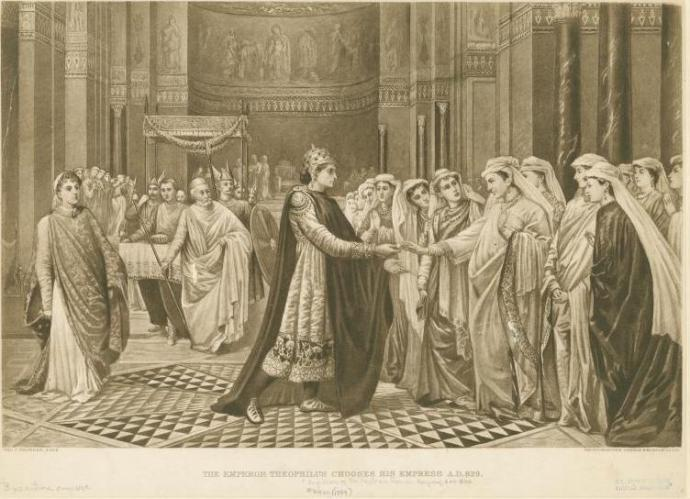 The bride show where Theophilos chooses Theodora (Val Cameron Prinsep (1838-1904) - New York Public Library Digital Gallery)