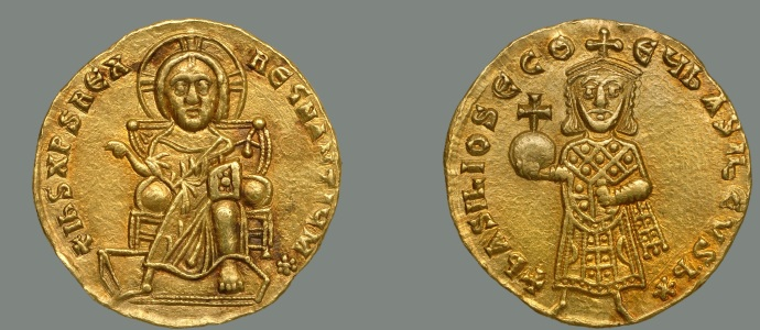 Basil I on right, enthroned Jesus on left (Dumbarton Oaks coin collection)