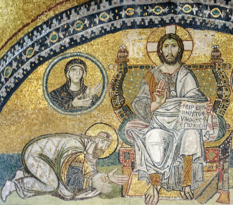 Leo (kneeling) venerating Christ from a mosaic in the Hagia Sophia