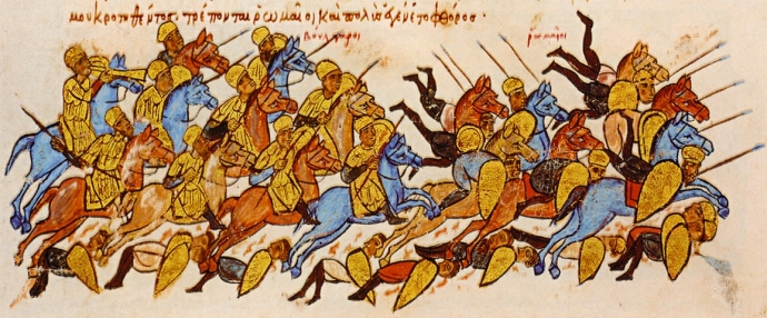 The Romans flee from the Bulgars at Boulgarofygon (from the Chronicle of John Skylitzes)