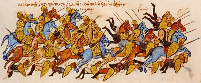The Romans flee from the Bulgars at Boulgarofygon (from the Chronicle of John Skylitzes)