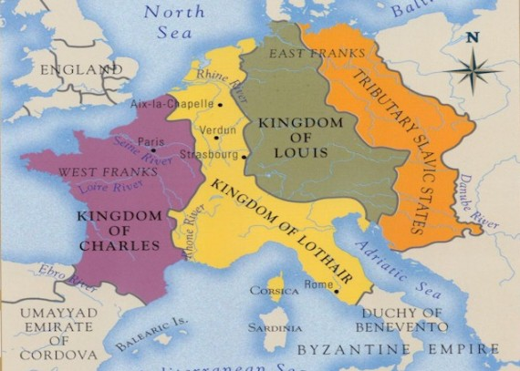The Division of the Carolingian Empire in 843 AD