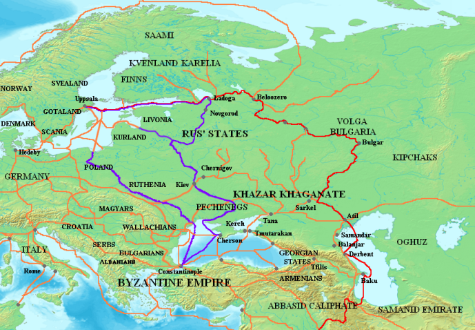The Major Varangian trade routes. The Volga route is in red. The Dneiper (and one other) in purple. Existing trade routes in orange