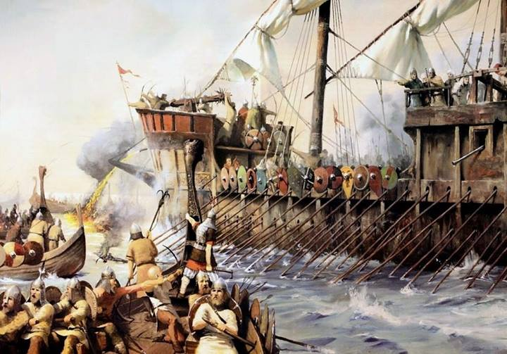 Byzantine fleet attack Rus ships (found on facebook page 'Byzantine Military History')