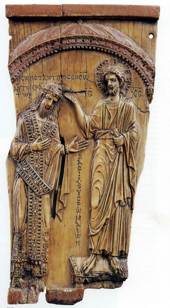 Ivory plaque showing the coronation of Constantine VII by Christ