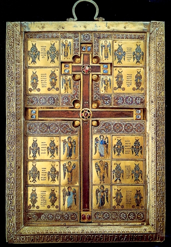 The Limburg reliquary was created to hold a piece of the true cross. Basil Lekapenus sponsored its creation