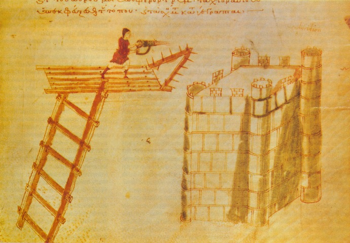 Use of a portable Byzantine flamethrower for Greek fire from atop a flying bridge against a castle. Illumination from the Poliorcetica of Hero of Byzantium.
