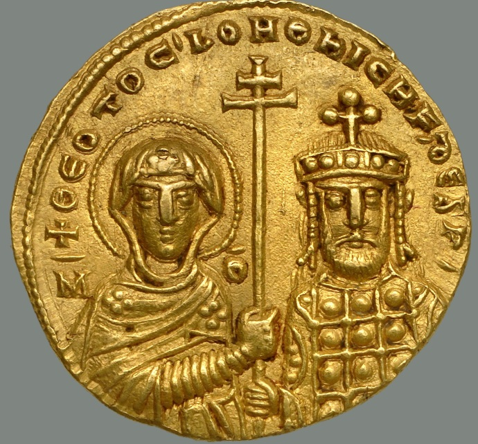 Nicephorus II, Virgin Mary on left (Dumbarton Oaks coin collection)