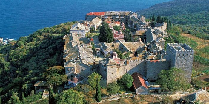 Monastery of Megisti Lavra (Great Lavra) in Athos - the oldest monastery on Mount Athos